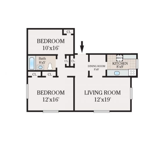 2 Bedroom 1 Bath. 806 sq. ft.